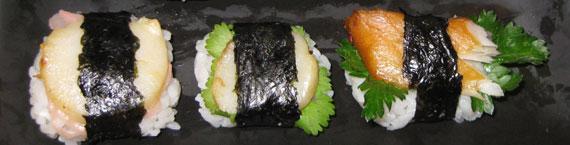 Sushi mit Jakobsmuscheln